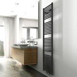 Designradiator Elina 181.7x45cm 830W Mat Zwart Middenonderaansluiting_