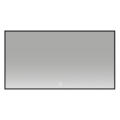 Badkamerspiegel Fenti 120x60cm Zwart Geintegreerde LED Verlichting Verwarming Anti Condens Touch Lichtschakelaarr