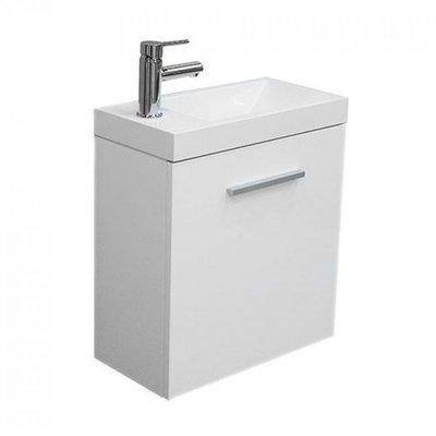 Toiletmeubel Evo Hangend 50x50x25cm MDF Hoogglans Wit Softclose Kunstmarmeren Wasbak