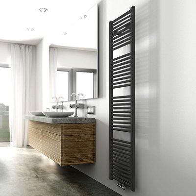 Designradiator Elina 181.7x45cm 830W Mat Zwart Middenonderaansluiting