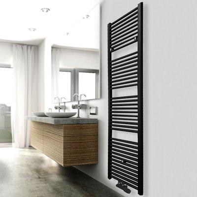 Designradiator Elina 181.7x60cm 1067W Mat Zwart Middenonderaansluiting