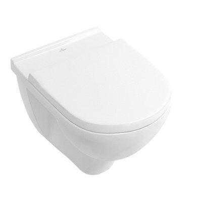 Toiletpot Hangend Villeroy & Boch O.novo Combipack 41x36x56cm Direct Flush Diepspoel Wandcloset Keramiek Glans Wit Met Softclose Zitting en Quikreleasee