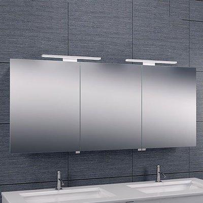 Spiegelkast Left 140x60x14cm Aluminium LED Verlichting Stopcontact Binnen en Buiten Spiegel Glazen Planken