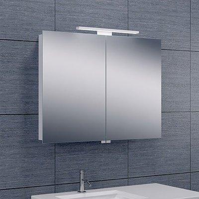 Spiegelkast Todd 80x60x14cm Aluminium LED Verlichting Stopcontact Binnen en Buiten Spiegel Glazen Planken