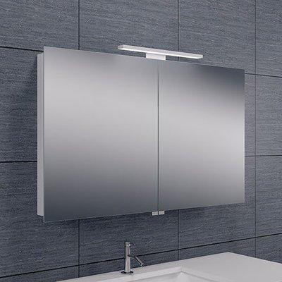 Spiegelkast Todd 100x60x14cm Aluminium LED Verlichting Stopcontact Binnen en Buiten Spiegel Glazen Planken