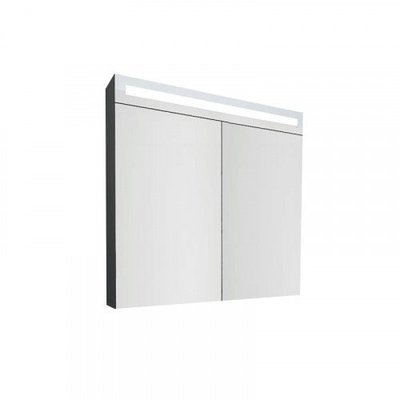 Spiegelkast Hollow 80x80x14cm MDF Hoogglans Antraciet/Grijs Geintegreerde LED Verlichting MDF Planken