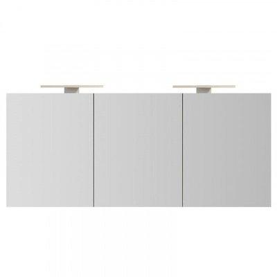 Spiegelkast Left 160x60x14cm Aluminium LED Verlichting Stopcontact Binnen en Buiten Spiegel Glazen Planken