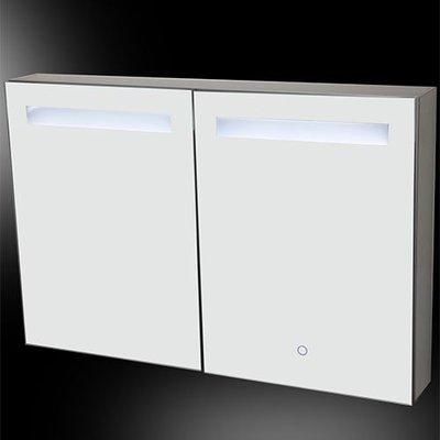 Spiegelkast Alea 90x60x15cm Aluminium Geintegreerde LED Verlichting Touch Lichtschakelaar Stopcontact Binnen en Buiten Spiegel