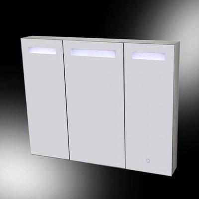 Spiegelkast Alea 120x80x15cm Aluminium Geintegreerde LED Verlichting Touch Lichtschakelaar Stopcontact Binnen en Buiten Spiegel