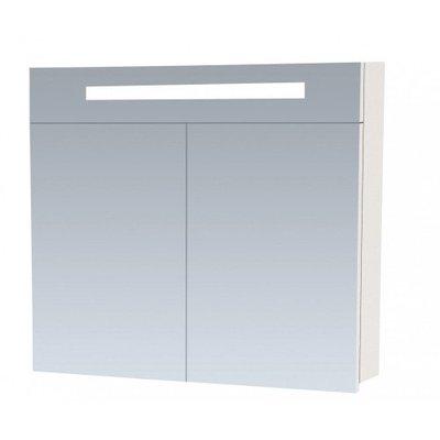 Spiegelkast Flora 80x70x15cm MDF Hoogglans Wit Geintegreerde LED Verlichting Lichtschakelaar Stopcontact