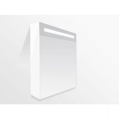 Spiegelkast Flora 60x70x15cm Linksdraaiend MDF Hoogglans Wit Geintegreerde LED Verlichting Lichtschakelaar Stopcontact Binnen en Buiten Spiegel