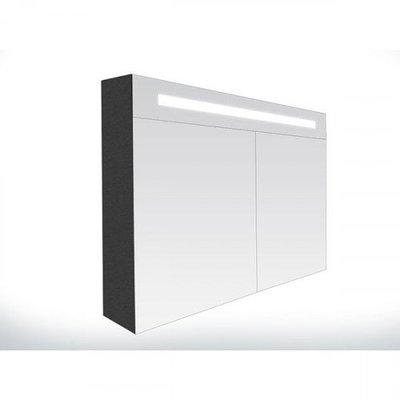 Spiegelkast Flora 80x70x15cm MDF Black Diamond LED Verlichting Lichtschakelaar Stopcontact Binnen en Buiten Spiegel