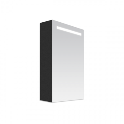 Spiegelkast Flora 60x70x15cm Linksdraaiend MDF Black Diamond Geintegreerde LED Verlichting Lichtschakelaar Stopcontact