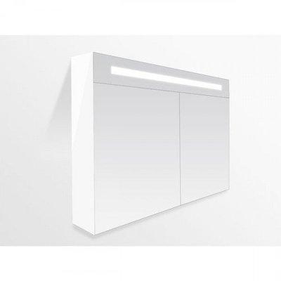 Spiegelkast Flora 120x70x15cm MDF Hoogglans Wit LED Verlichting Lichtschakelaar Stopcontact Binnen en Buiten Spiegel