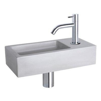 Fonteinset Bravo Rechthoek 38.5x18.5x9 Beton Lichtgrijs Gebogen Toiletkraan Clickwaste Sifon Chroom