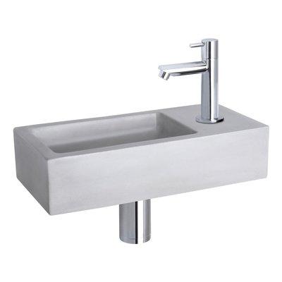 Fonteinset Bravo Rechthoek 38.5x18.5x9 Beton Lichtgrijs Rechte Toiletkraan Clickwaste Sifon Chroom