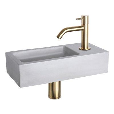 Fonteinset Bravo Rechthoek 38.5x18.5x9 Beton Lichtgrijs Gebogen Toiletkraan Clickwaste Sifon Geborsteld Goud
