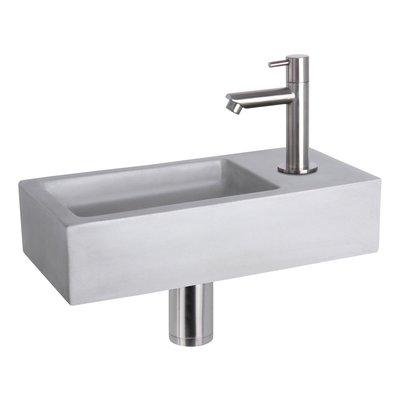 Fonteinset Bravo Rechthoek 38.5x18.5x9 Beton Lichtgrijs Rechte Toiletkraan Clickwaste Sifon RVS Look