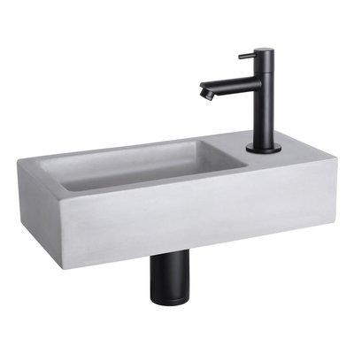 Fonteinset Bravo Rechthoek 38.5x18.5x9 Beton Lichtgrijs Rechte Toiletkraan Clickwaste Sifon Mat Zwart