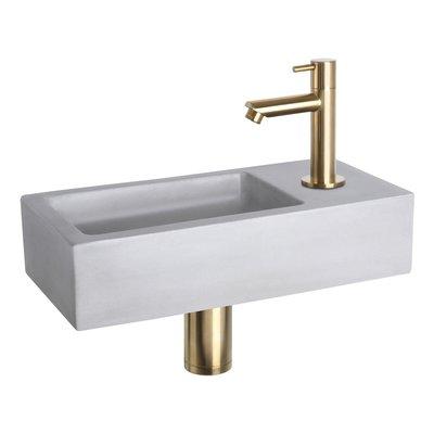 Fonteinset Bravo Rechthoek 38.5x18.5x9 Beton Lichtgrijs Rechte Toiletkraan Clickwaste Sifon Geborsteld Goud