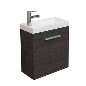 Toiletmeubel Evo Hangend 50x50x25cm MDF Houtnerf Grijs Softclose Kunstmarmeren Wasbak