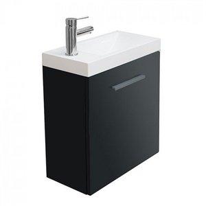 Toiletmeubel Evo Hangend 50x50x25cm MDF Hoogglans Grijs Softclose Kunstmarmeren Wasbak